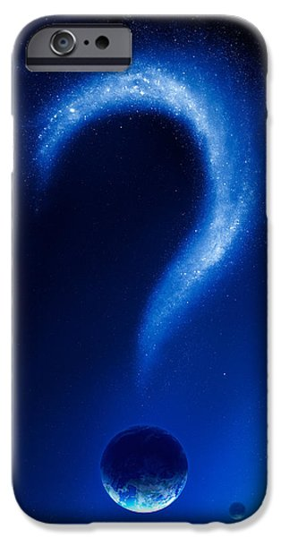 Destiny iPhone Cases - Earth and question mark from stars iPhone Case by Johan Swanepoel