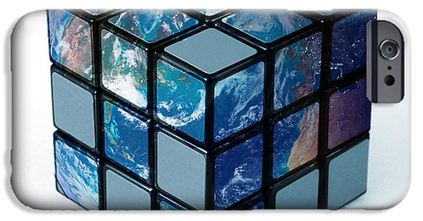 Rubiks Cube iPhone Cases - Earth As Rubiks Cube iPhone Case by Spencer Sutton