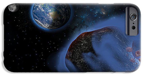 Stellar iPhone Cases - Earth Asteroids iPhone Case by Corey Ford