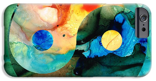 Yin iPhone Cases - Earth Balance - Yin and Yang Art iPhone Case by Sharon Cummings