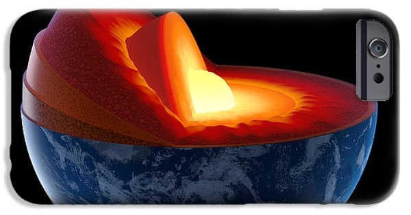 Sectioned iPhone Cases - Earth core structure - isolated iPhone Case by Johan Swanepoel
