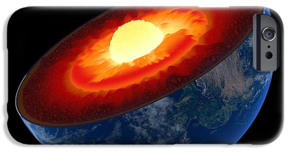 Sectioned iPhone Cases - Earth core structure to scale - isolated iPhone Case by Johan Swanepoel