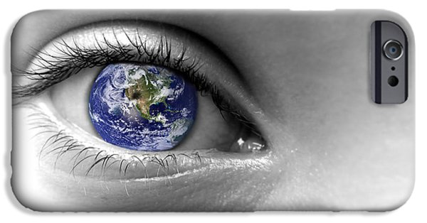 Virtual Digital iPhone Cases - Earth eye iPhone Case by Delphimages Photo Creations