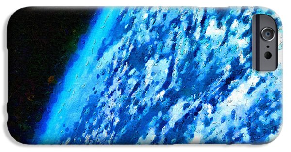 Outer Space Paintings iPhone Cases - Earth from close orbit iPhone Case by Magomed Magomedagaev