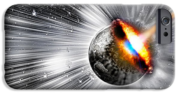 Comets iPhone Cases - Earth Hit By Comet iPhone Case by Panoramic Images