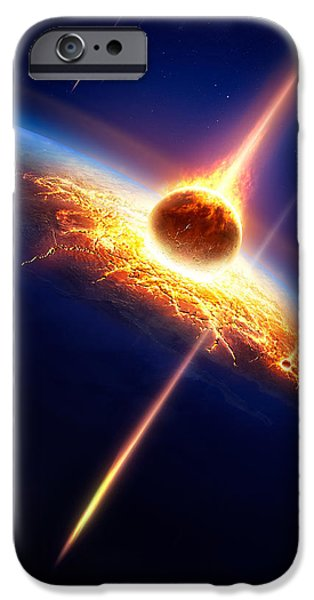 Bang iPhone Cases - Earth in a  meteor shower iPhone Case by Johan Swanepoel