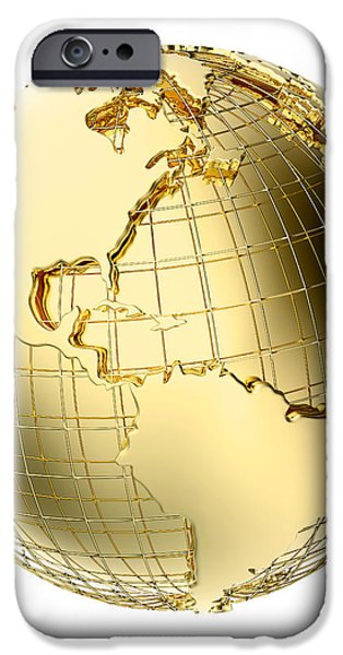 Earth in Gold Metal isolated on white iPhone Case by Johan Swanepoel