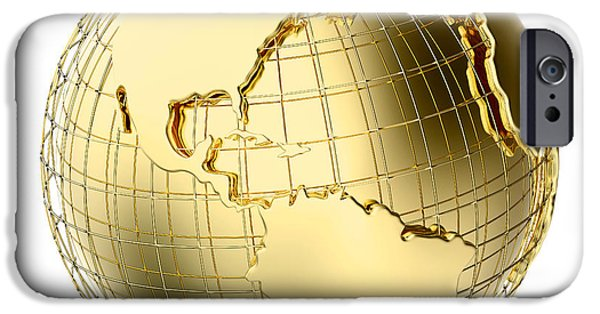 Reflective iPhone Cases - Earth in Gold Metal isolated on white iPhone Case by Johan Swanepoel