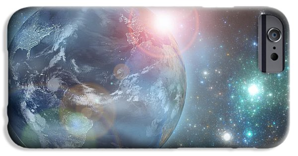 Stratosphere iPhone Cases - Earth in the space iPhone Case by Martin Capek