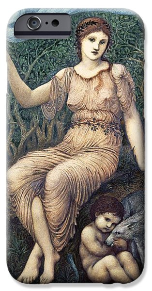Pres iPhone Cases - Earth Mother, 1882 Gesso iPhone Case by Sir Edward Coley Burne-Jones