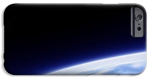 Fractal Orbs iPhone Cases - Earth Orbit Fractal iPhone Case by Antony McAulay