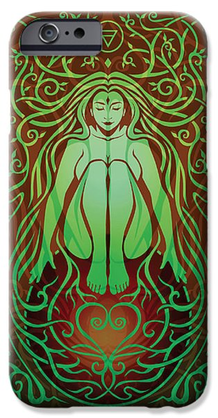 Gaia Digital iPhone Cases - Earth Spirit v.2 iPhone Case by Cristina McAllister