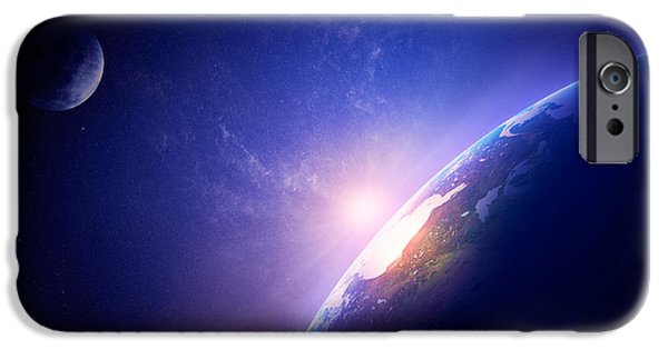 View Digital Art iPhone Cases - Earth sunrise in foggy space iPhone Case by Johan Swanepoel