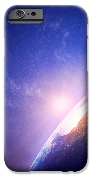 Earth sunrise in foggy space iPhone Case by Johan Swanepoel