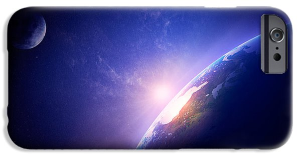 Rise iPhone Cases - Earth sunrise in foggy space iPhone Case by Johan Swanepoel