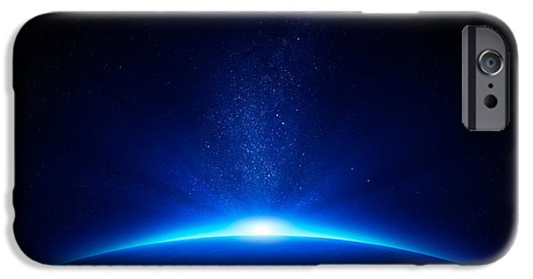 Starfield iPhone Cases - Earth sunrise in space iPhone Case by Johan Swanepoel