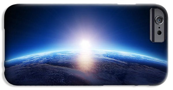 Evening Digital Art iPhone Cases - Earth sunrise over cloudy ocean  iPhone Case by Johan Swanepoel