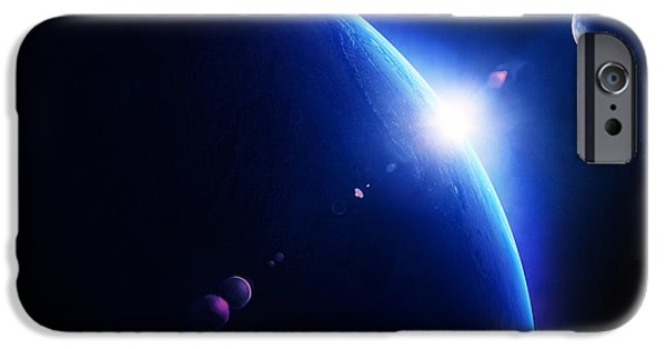 View Digital Art iPhone Cases - Earth sunrise with moon in space iPhone Case by Johan Swanepoel
