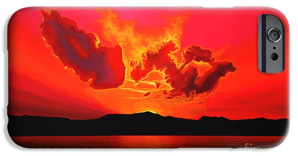 Pastel Paintings iPhone Cases - Earth Sunset iPhone Case by Paul Meijering