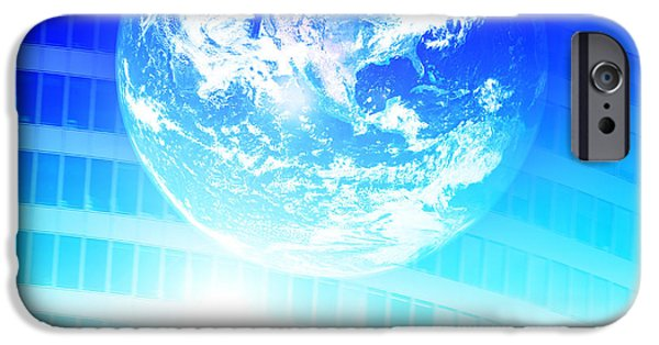Cyberspace iPhone Cases - Earth technology background iPhone Case by Michal Bednarek