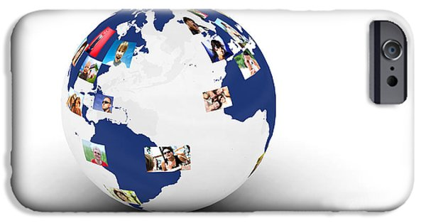 Women Together Digital iPhone Cases - Earth with people photos in network iPhone Case by Michal Bednarek