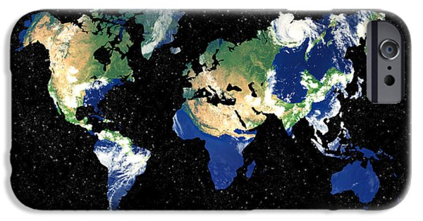 Different Worlds iPhone Cases - Earth Word map iPhone Case by Delphimages Photo Creations