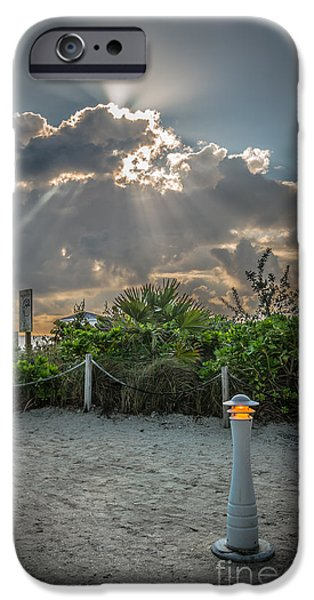 Sun Breaking Through Clouds iPhone Cases - Earthly Light and Heavenly Light - HDR Style iPhone Case by Ian Monk