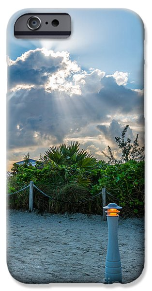 Sun Breaking Through Clouds iPhone Cases - Earthly Light and Heavenly Light  iPhone Case by Ian Monk