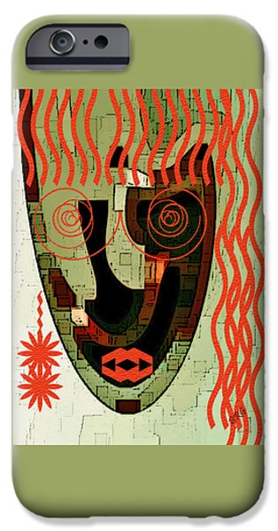 Green Surreal Geometric iPhone Cases - Earthy Woman iPhone Case by Ben and Raisa Gertsberg