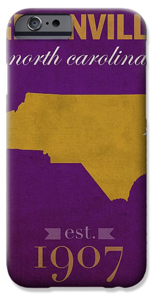 East iPhone Cases - East Carolina University Pirates Greenville NC College Town State Map Poster Series No 036 iPhone Case by Design Turnpike
