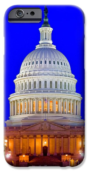 Night Lamp iPhone Cases - East Front Of Us Capitol Building iPhone Case by Spencer Grant