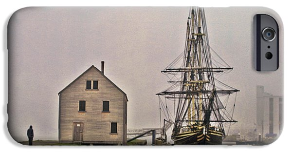 Tall Ship iPhone Cases - East Indiaman in The Fog iPhone Case by Tom Gari Gallery-Three-Photography