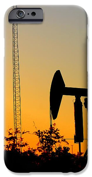 East Texas Pumpjack At Sunset iPhone Case by Kathy  White