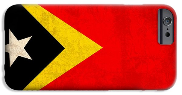 East iPhone Cases - East Timor Flag Vintage Distressed Finish iPhone Case by Design Turnpike