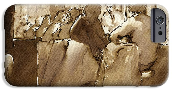 Sepia Ink Drawings iPhone Cases - East Village Bar 1984 iPhone Case by Thor Wickstrom