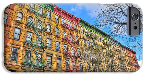 Escape iPhone Cases - East Village Buildings on East Fourth Street and Bowery iPhone Case by Randy Aveille