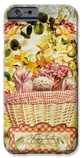 Basket Mixed Media iPhone Cases - Easter Basket iPhone Case by Mo T