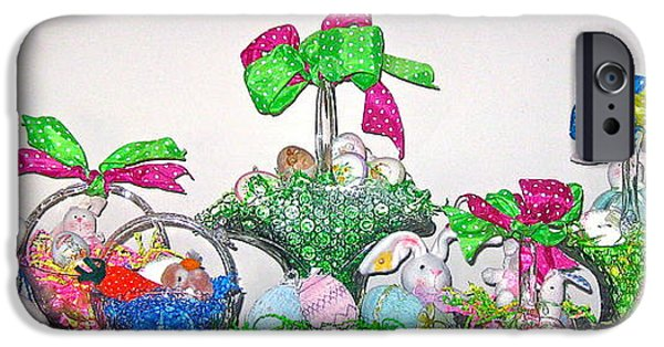 Basket iPhone Cases - Easter Baskets in a Row  iPhone Case by Nancy Patterson