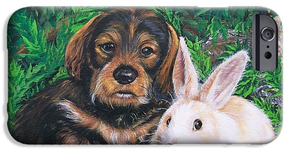 Puppies iPhone Cases - Wonder of Spring  iPhone Case by Sharon Duguay