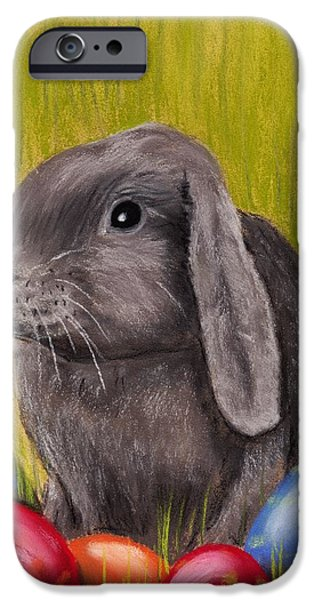 Animal Cards Pastels iPhone Cases - Easter Bunny iPhone Case by Anastasiya Malakhova