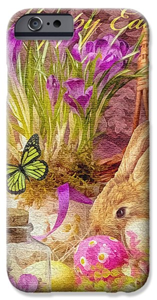 Celebration Mixed Media iPhone Cases - Easter Bunny iPhone Case by Mo T