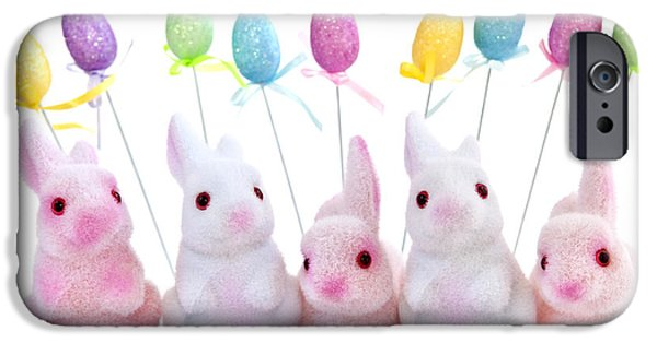 Rabbit iPhone Cases - Easter bunny toys iPhone Case by Elena Elisseeva