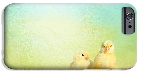 Animal Photography Mixed Media iPhone Cases - Easter chicks iPhone Case by Heike Hultsch