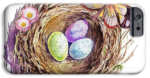 Birds iPhone Cases - Easter Colors Bird Nest iPhone Case by Irina Sztukowski