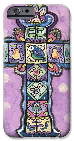 Pears iPhone Cases - Easter Cross on Orchid iPhone Case by Jen Norton