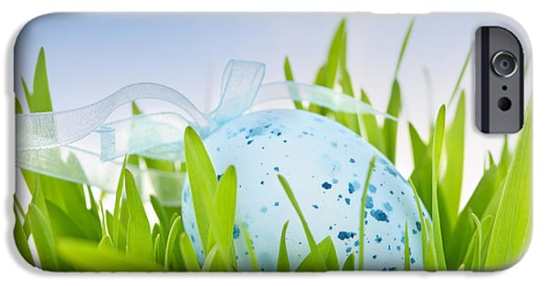 Coloured Photographs iPhone Cases - Easter egg in grass iPhone Case by Elena Elisseeva
