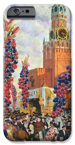 Balloon Vendor iPhone Cases - Easter Market at the Moscow Kremlin iPhone Case by Boris Mikhailovich Kustodiev