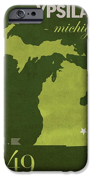 Emu iPhone Cases - Eastern Michigan University Eagles Ypsilanti College Town State Map Poster Series No 035 iPhone Case by Design Turnpike
