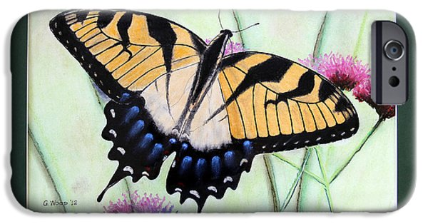 Stripes Pastels iPhone Cases - Eastern Tiger Swallowtail Butterfly by George Wood iPhone Case by Karen Adams