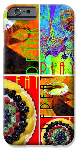 Playful Digital Art iPhone Cases - Eat Drink Play Repeat 20140705 Vertical iPhone Case by Wingsdomain Art and Photography